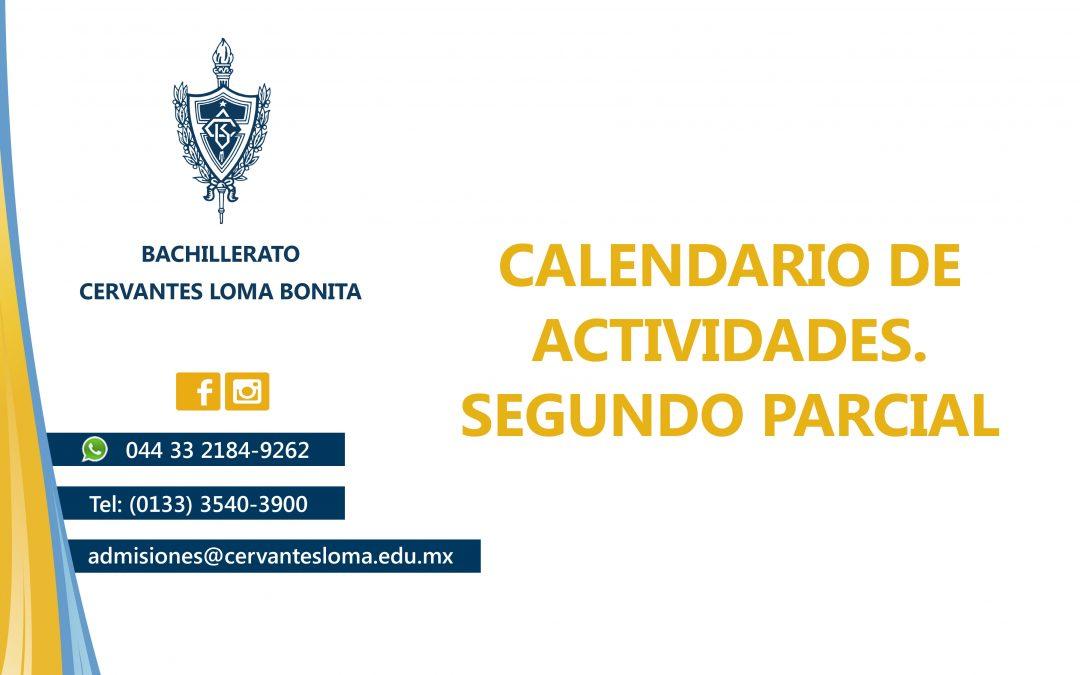 Calendario de actividades segundo parcial